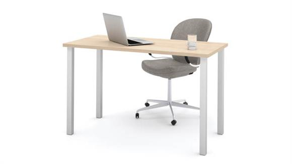 "Computer Tables Bestar Office Furniture 24"" x 48"" Table with Square Metal Legs"