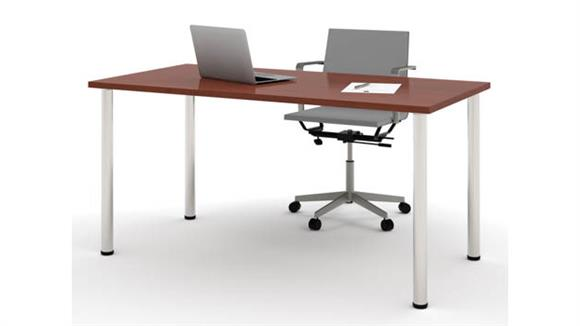 """Computer Tables Bestar Office Furniture 30"""" x 60"""" Table with Round Metal Legs"""