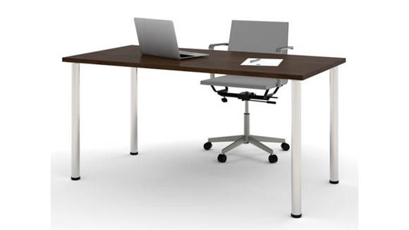 "Computer Tables Bestar Office Furniture 30"" x 60"" Table with Round Metal Legs"
