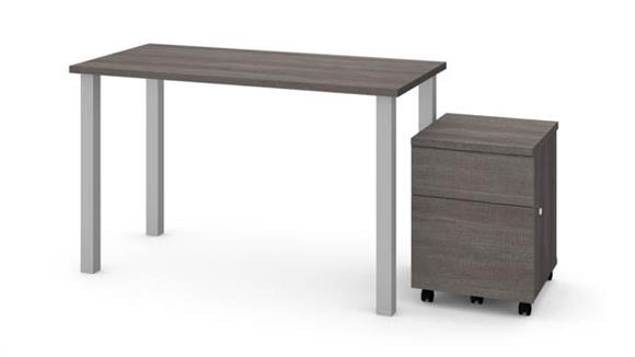 """Computer Tables Bestar Office Furniture 24"""" x 48"""" Table with Square Metal Legs and Mobile Filing Cabinet"""