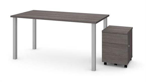 """Computer Tables Bestar Office Furniture 30"""" x 60"""" Table with Square Metal Legs and Mobile Filing Cabinet"""