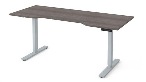 """Adjustable Height Tables Bestar Office Furniture 30"""" x 72"""" Curved Electric Height Adjustable Table"""