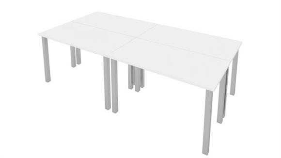"""Computer Tables Bestar Office Furniture 48""""W x 24""""D Table Desks with Square Metal Legs (set of 4)"""