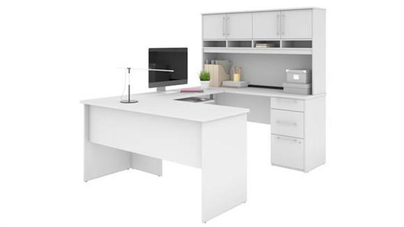 "U Shaped Desks Bestar Office Furniture 60""W U-Shaped Desk with Hutch"