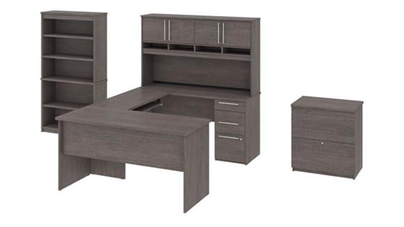 L Shaped Desks Bestar Office Furniture U or L-Shaped Desk with Pedestal and Hutch, Lateral File Cabinet and Bookcase