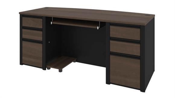 "Executive Desks Bestar Office Furniture 72""W Bow Front Double Pedestal Executive Desk"