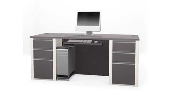 Executive Desks Bestar Office Furniture Bow Front Double Pedestal Executive Desk 93850