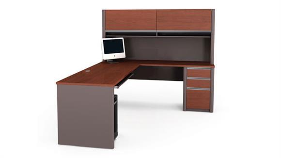 L Shaped Desks Bestar Office Furniture Desk with Hutch and Return 93859