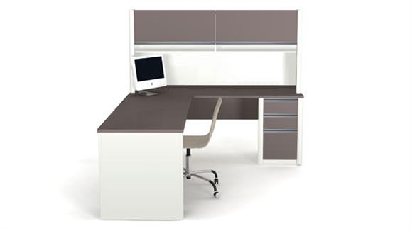 "L Shaped Desks Bestar Office Furniture 72""W x 83""D L-shaped Workstation with Hutch"