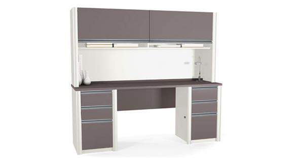 Office Credenzas Bestar Office Furniture Double Pedestal Credenza with Hutch 93860