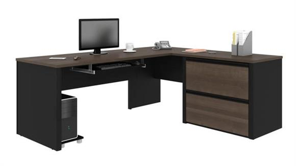 "L Shaped Desks Bestar Office Furniture 72""W x 83""D L-Shaped Workstation"