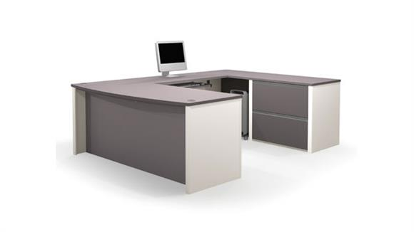 U Shaped Desks Bestar Office Furniture Bow Front U Shaped Desk 93865