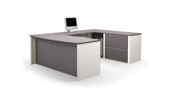 U Shaped Desks Bestar Office Furniture Bow Front U Shaped Desk 93865