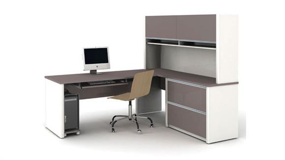 L Shaped Desks Bestar Office Furniture Desk with Hutch and Return 93867