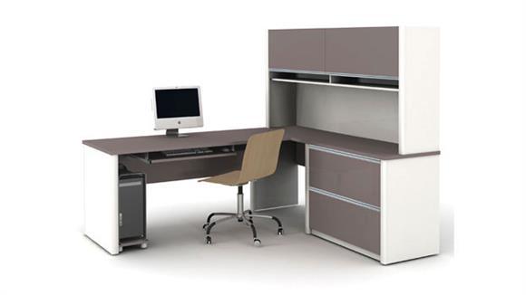 L Shaped Desks Bestar Office Furniture Desk with Hutch and Return 93867