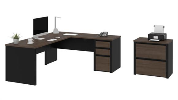 L Shaped Desks Bestar Office Furniture L-Shaped Workstation with Lateral File