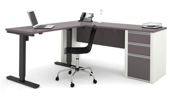 L Shaped Desks Bestar Office Furniture L Shaped Desk with Adjustable Height Table