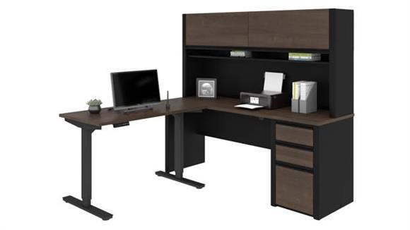"Adjustable Height Desks & Tables Bestar Office Furniture 72""W x 72""D Height Adjustable L-Shaped Desk with Hutch"