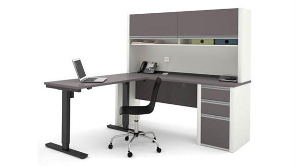 L Shaped Desks Bestar Office Furniture L Shaped Desk with Hutch & Adjustable Height Table