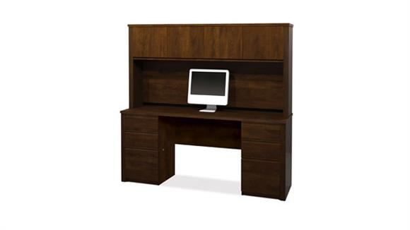 Office Credenzas Bestar Office Furniture Double Pedestal Credenza with Hutch 99851