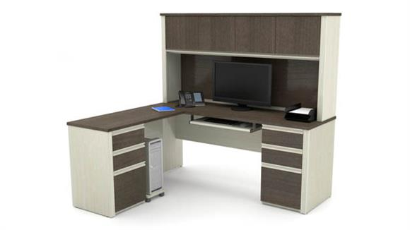 L Shaped Desks Bestar Office Furniture L-shaped Workstation with Two Pedestals