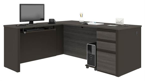 "L Shaped Desks Bestar Office Furniture 71""W x 70""D  L-Shaped Workstation with 1 Pedestal"