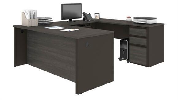 """U Shaped Desks Bestar Office Furniture 71""""W x 93""""D U-Shaped Workstation with 1 Pedestal"""