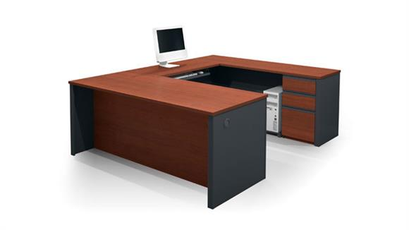 U Shaped Desks Bestar Office Furniture U Shaped Desk with 2 Pedestals