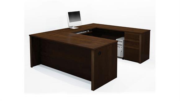 U Shaped Desks Bestar Office Furniture U-Shaped Desk with 1 Pedestal
