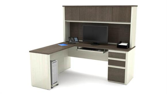 L Shaped Desks Bestar Office Furniture L-Shaped Workstation with 1 Pedestal