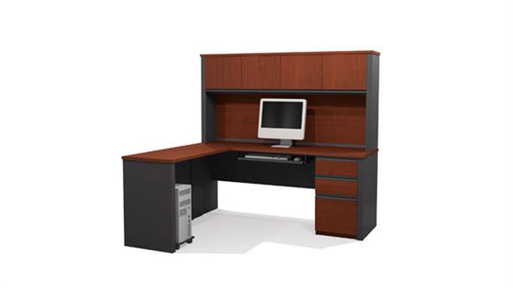 L Shaped Desks Bestar Office Furniture L-Shaped Desk with 1 Pedestal