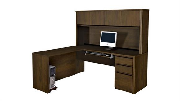 L Shaped Desks Bestar Office Furniture Single Pedestal L Shaped Desk with Hutch 99872