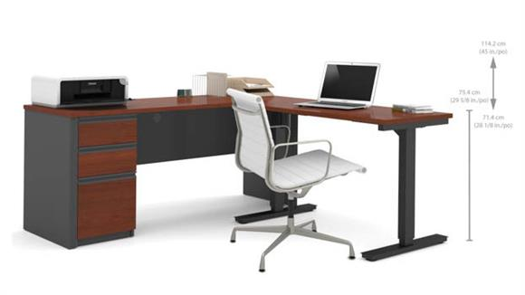 L Shaped Desks Bestar Office Furniture Height Adjustable L-Shaped Desk