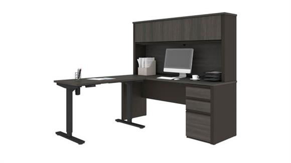 "L Shaped Desks Bestar Office Furniture 71""W x 71""D Height Adjustable L-Shaped Desk with Hutch"