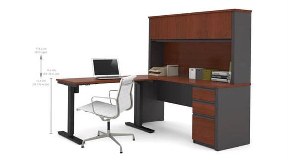 L Shaped Desks Bestar Office Furniture L Desk & Hutch with Electric Height Adjustable Table