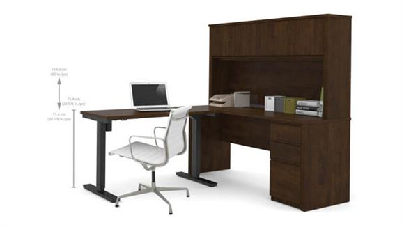 L Shaped Desks Bestar Office Furniture Height Adjustable L-Shaped Desk with Hutch