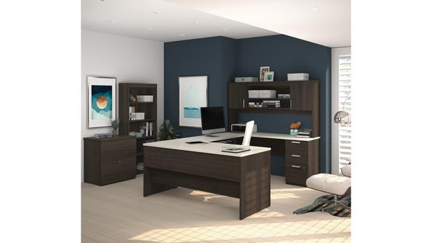 Bestar Office Furniture U Shaped Desk With Lateral File And Bookcase