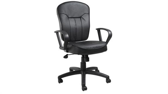 Office Chairs BOSS Office Chairs Black Leather Task Chair with Loop Arms