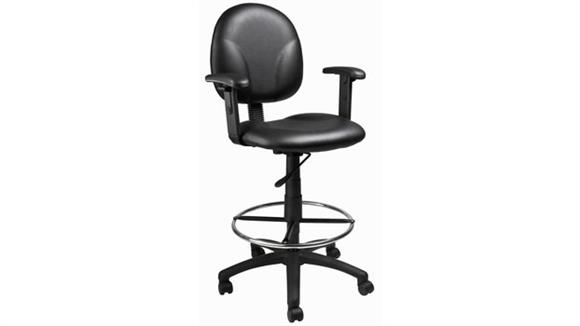 Drafting Stools BOSS Office Chairs Black Caresoft Drafting Stool with Adjustable Arms