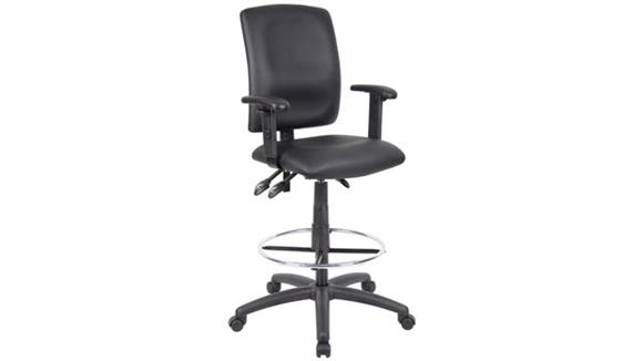 Drafting Stools BOSS Office Chairs Leather Plus Drafting Stool with Adjustable Arms