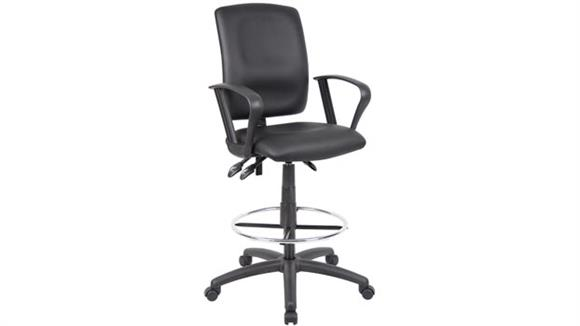 Drafting Stools BOSS Office Chairs Leather Plus Drafting Stool with Loop Arms