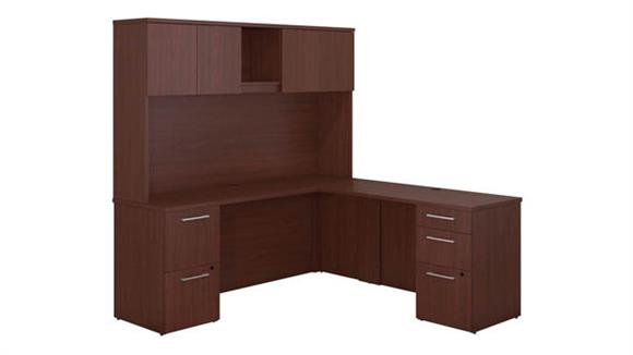 "Executive Desks Bush Furniture 72""W x 22""D L Shaped Office Desk with Hutch, 2 Pedestals and Return"