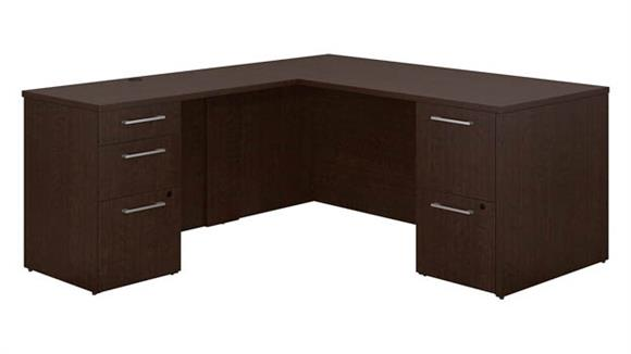 "Executive Desks Bush Furniture 66""W x 30""D L Shaped Office Desk with 2 and 3 Drawer Pedestals and Return"