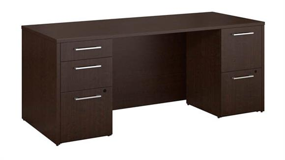 "Executive Desks Bush Furniture 72""W x 30""D Office Desk with 2 and 3 Drawer Pedestals"