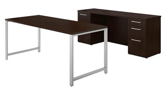 "Computer Desks Bush Furniture 72""W x 30""D Table Desk and Credenza with File Drawers"