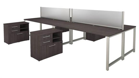 "Workstations & Cubicles Bush Furniture 72""W x 30""D 4 Person Workstation with Table Desks and Storage"