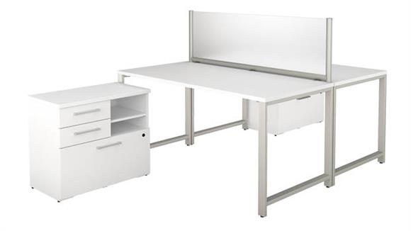 "Workstations & Cubicles Bush Furniture 60""W x 30""D 2 Person Workstation with Table Desks and Lateral File Cabinets"