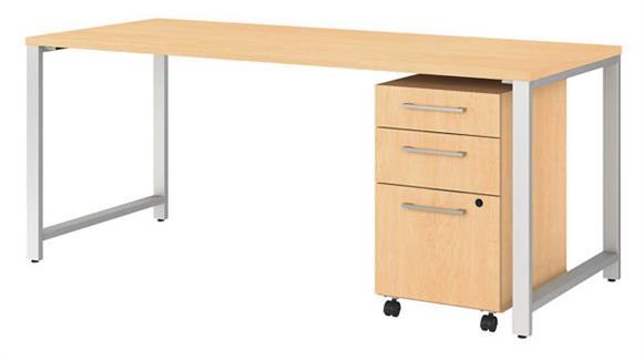 "Computer Desks Bush Furniture 72""W x 30""D Table Desk with 3 Drawer Mobile File Cabinet"