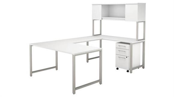 "U Shaped Desks Bush Furniture 60""W x 30""D  U-Shaped Table Desk with Hutch and 3 Drawer Mobile File Cabinet"