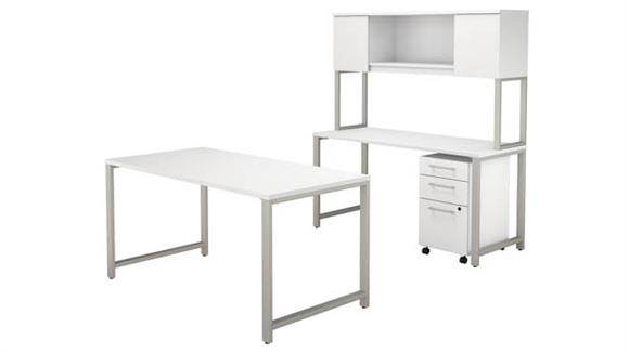 "Computer Tables Bush Furniture 60""W x 30""D Table Desk with Credenza, Hutch and 3 Drawer Mobile File Cabinet"